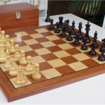 British Staunton Chess Set in Ebonized Boxwood with Mahogany Chess Board & Box – 3″ King