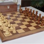 Yugoslavia Staunton Chess Set in Golden Rosewood & Boxwood with Walnut Chess Board & Box – 3.875″ King