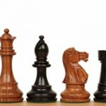 British Staunton Chess Set in Ebonized Boxwood & Golden Rosewood – 3″ King