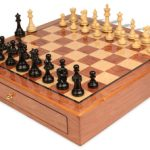 British Staunton Chess Set Ebony & Boxwood Pieces 3.5″ King with Bubinga Case