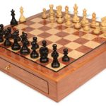 Deluxe Old Club Staunton Chess Set Ebonized & Boxwood Pieces 3.25″ King with Bubinga Case