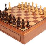 Deluxe Old Club Staunton Chess Set Rosewood & Boxwood Pieces 3.25″ King with Bubinga Case