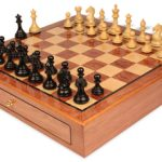 Fierce Knight Staunton Chess Set Ebonized & Boxwood Pieces 3.5″ King with Bubinga Case