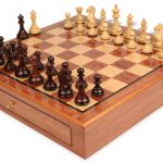 Fierce Knight Staunton Chess Set Rosewood & Boxwood Pieces 3.5″ King with Bubinga Case