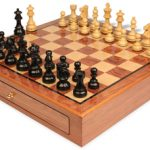 French Lardy Staunton Chess Set Ebonized & Boxwood Pieces 3.75″ King with Bubinga Case