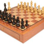 German Knight Staunton Chess Set Ebonized & Boxwood Pieces 3.75″ King with Bubinga Case