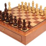 German Knight Staunton Chess Set Rosewood & Boxwood Pieces 3.75″ King with Bubinga Case