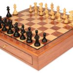 Grande Staunton Chess Set Ebony & Boxwood Pieces 3″ King with Bubinga Case
