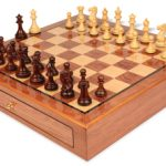 Grande Staunton Chess Set Rosewood & Boxwood Pieces 3″ King with Bubinga Case