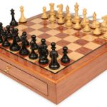 New Exclusive Staunton Chess Set Ebony & Boxwood Pieces 3.5″ King with Bubinga Case