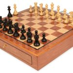 Parker Staunton Chess Set Ebonized & Boxwood Pieces 3.25″ King with Bubinga Case