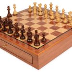 Parker Staunton Chess Set Rosewood & Boxwood Pieces 3.25″ King with Bubinga Case