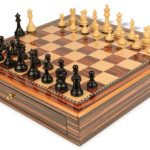 British Staunton Chess Set Ebony & Boxwood Pieces 3.5″ King with Macassar Case