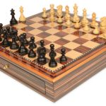 Deluxe Old Club Staunton Chess Set Ebonized & Boxwood Pieces 3.25″ King with Macassar Case
