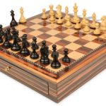Fierce Knight Staunton Chess Set Ebonized & Boxwood Pieces 3.5″ King with Macassar Case
