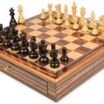 French Lardy Staunton Chess Set Ebonized & Boxwood Pieces 3.75″ King with Macassar Case