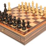 German Knight Staunton Chess Set Ebonized & Boxwood Pieces 3.75″ King with Macassar Case