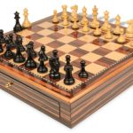Grande Staunton Chess Set Ebony & Boxwood Pieces 3″ King with Macassar Case