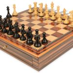 New Exclusive Staunton Chess Set Ebony & Boxwood Pieces 3.5″ King with Macassar Case