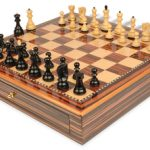 Yugoslavia Staunton Chess Set Ebony & Boxwood Pieces 3.25″ King with Macassar Case