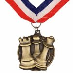 Chess Medal with Ribbon – Gold