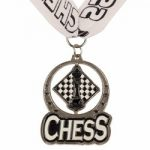 Chess Spin Medal Award with Ribbon – Silver