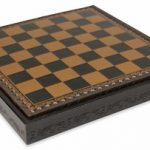 Black & Gold Leatherette Chess Case – 1.1″ Squares