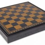 Blue & Gold Leatherette Chess Board & Tray – 1.375″ Squares
