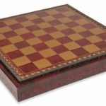 Red & Gold Leatherette Chess Case – 1.1″ Squares