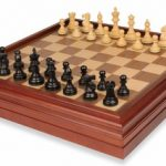 British Staunton Chess Set in Ebonized Boxwood with Walnut Chess & Backgammon Case – 3″ King