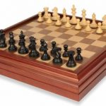 Fierce Knight Staunton Chess Set in Ebonized Boxwood with Walnut Chess & Backgammon Case – 3″ King
