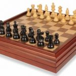 French Lardy Staunton Chess Set in Ebonized Boxwood with Walnut Chess & Backgammon Case – 3.25″ King