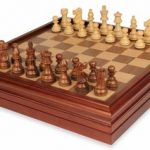 French Lardy Staunton Chess Set in Golden Rosewood & Boxwood with Walnut Chess & Backgammon Case – 3.25″ King