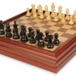 German Knight Staunton Chess Set in Ebonized Boxwood with Walnut Chess & Backgammon Case – 3.25″ King