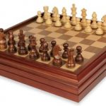 German Knight Staunton Chess Set in Golden Rosewood & Boxwood with Walnut Chess & Backgammon Case – 3.25″ King