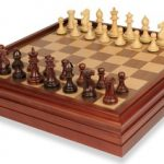 Grande Staunton Chess Set in Rosewood & Boxwood with Walnut Chess & Backgammon Case – 3.25″ King