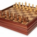 New Exclusive Staunton Chess Set in Golden Rosewood & Boxwood with Chess & Backgammon Case – 3″ King