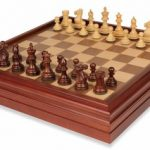 New Exclusive Staunton Chess Set in Rosewood & Boxwood with Walnut Chess & Backgammon Case – 3″ King