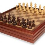 Royal Staunton Chess Set in Rosewood & Boxwood with Walnut Chess & Backgammon Case – 3.25″ King