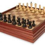 Yugoslavia Staunton Chess Set in Ebonized Boxwood with Walnut Chess & Backgammon Case – 3.25″ King