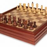 Yugoslavia Staunton Chess Set in Rosewood & Boxwood with Walnut Chess & Backgammon Case – 3.25″ King