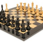 New Exclusive Staunton Chess Set in Ebonized Boxwood & Boxwood with Black & Ash Burl Chess Board – 3″ King