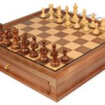 British Staunton Chess Set in Golden Rosewood & Boxwood with Walnut Chess Case – 3″ King