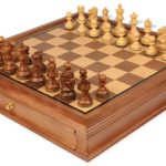 Deluxe Old Club Staunton Chess Set in Golden Rosewood & Boxwood with Walnut Chess Case – 3.25″ King