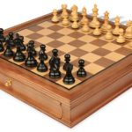 Fierce Knight Staunton Chess Set in Ebonized Boxwood with Walnut Chess Case – 3″ King