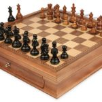 Fierce Knight Staunton Chess Set in Ebonized Boxwood & Golden Rosewood with Walnut Chess Case – 3″ King