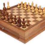 Fierce Knight Staunton Chess Set in Golden Rosewood & Boxwood with Walnut Chess Case – 3″ King