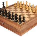 French Lardy Staunton Chess Set in Ebonized Boxwood with Walnut Chess Case – 3.25″ King