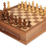 French Lardy Staunton Chess Set in Golden Rosewood & Boxwood with Walnut Chess Case – 3.25″ King