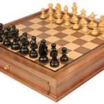 German Knight Staunton Chess Set in Ebonized Boxwood with Walnut Chess Case – 3.25″ King